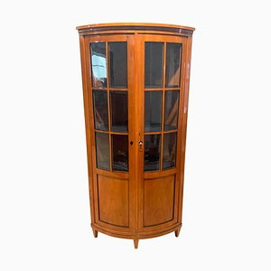 Biedermeier Corner Showcase or Vitrine in Cherry Veneer, South Germany, 1880s