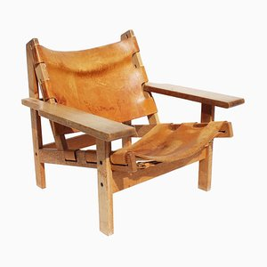 Oak and Patinated Leather Model 168 Easy Chair by Kurt Østervig, 1960s