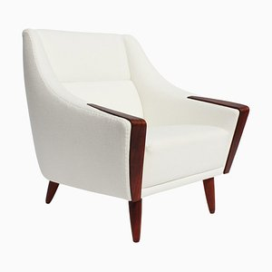 Dänischer Palisander Sessel mit Niedriger Rückenlehne, Weißer Stoff, 1960er