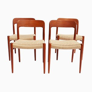 Teak and Papercord Model 75 Dining Chairs by Niels Otto Møller, 1960s, Set of 4