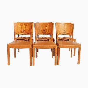 Leder Esszimmerstühle, 1950er, 6er Set