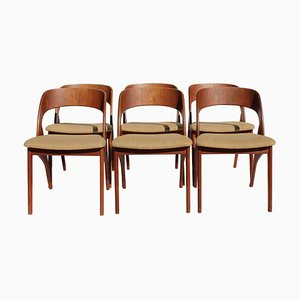 Danish Teak and Light Fabric Dining Chairs, 1960s, Set of 6