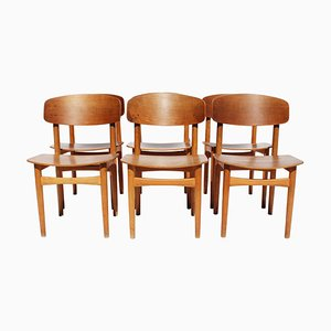 Teak Model 122 Dining Chairs by Børge Mogensen, 1960s, Set of 6
