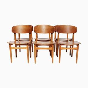 Teak Modell 122 Esszimmerstühle von Børge Mogensen, 1960er, 6er Set