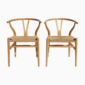 Beech Model CH24 Wishbone Chairs by Hans J. Wegner for Carl Hansen & Søn, 1960s, Set of 2