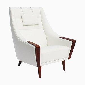 Dänischer Palisander Sessel mit Hoher Rückenlehne, Weißer Stoff, 1960er