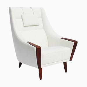 Danish Rosewood Easy Chair with Tall Back Upholstered in White Fabric, 1960s