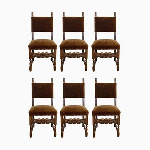 Vintage Spanish Velvet, Brass, Studs & Oak Dining Chairs, 1970s, Set of 6