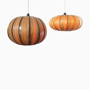 Mid-Century Veneer Pendants, Denmark, 1963, Set of 2