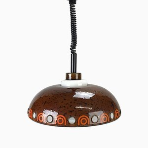 Space Age Enamel Glass Ceiling Lamp from Hustadt, 1970s