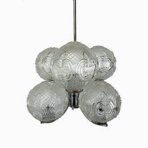 Space Age Chrome and Glass Ceiling Lamp, 1970s