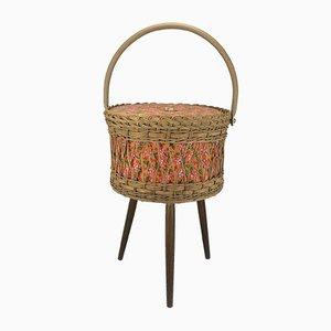 Mid-Century Wooden Braid Sewing Basket, 1970s
