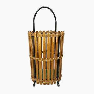 Mid-Century Wood and Metal Umbrella Stand, 1960s
