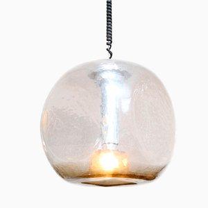 Lampada a sospensione sferica in vetro e metallo cromato, anni '70