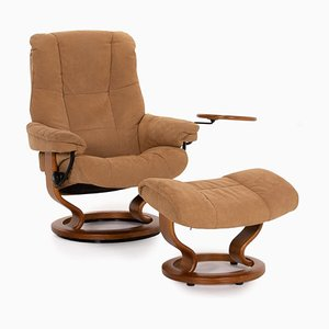 Brown Leather Reno Relax Function Armchair & Stool from Stressless, Set of 2
