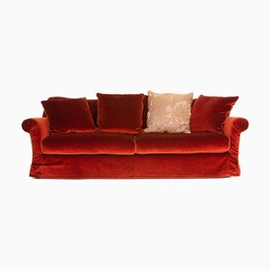 Red Orange Velvet 3-Seat Sofa from Roche Bobois