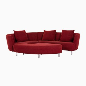 Dark Red Fabric Curl 602 Corner Sofa from Rolf Benz, Set of 2