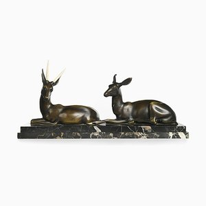 Bronze Antelope Sculpture by Georges-Henri Laurent
