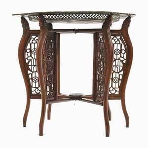 Antique Indochinesian Tea Table with Openwork Copper Top