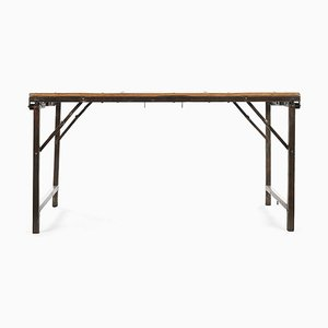 Folding Table with Wooden Top and Iron Legs