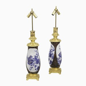 Japanese Porcelain and Gilt Bronze Lamps, 1880s, Set of 2