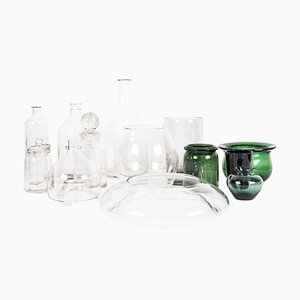 Green and Transparent Glass Bottle and Jars Set
