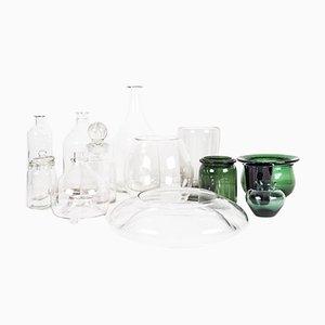 Grün und transparentes Glas und Gläser Set aus Glas