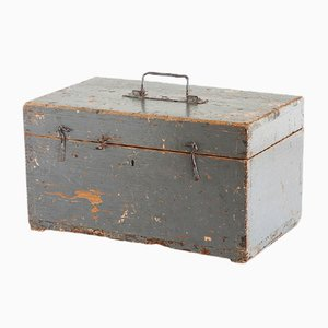 Vintage Spanish Industrial Painted Wood Tool Box, 1940s