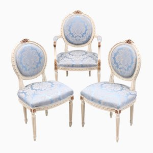 Antique Gustavian Dining Chairs, Set of 3
