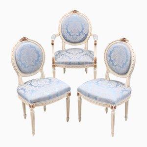 Chaises de Salon Antiques Gustaviennes, Set de 3