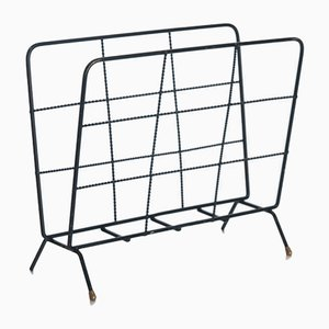 Vintage French Painted Metal Magazine Rack, 1960s