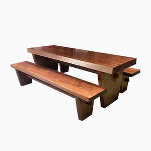 Art Deco Mahogany Dining Table & Bench Set, 1930s, Set of 3
