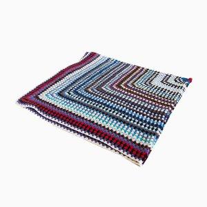 Vintage Spanish Handmade Wool Sofa Crochet Blanket, 1960s