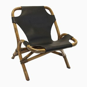 Rattan Relax Chair with Black Leather Seat, 1966