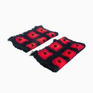 Juego de crochet español vintage de lana hecho a mano, años 60. Juego de 3