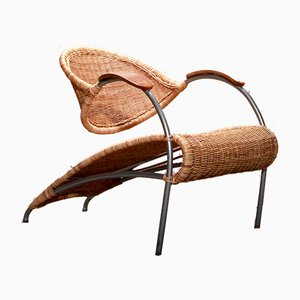 Vintage Insect Rattan Wicker Cane Lounge Chair