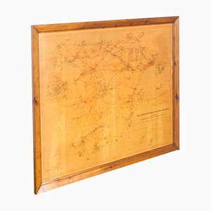 Vintage Paper and Wood Map of Red Eléctrica de España, 1980s