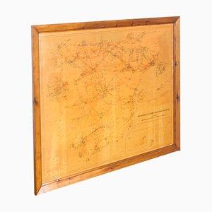 Vintage Paper and Wood Map of Red Eléctrica de España, 1980s