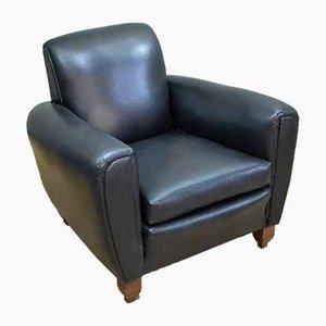 Vintage Italian Black Lounge Chairs, 1940s, Set of 2