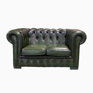 2-Sitzer Leder Chesterfield Sofa, 1970er