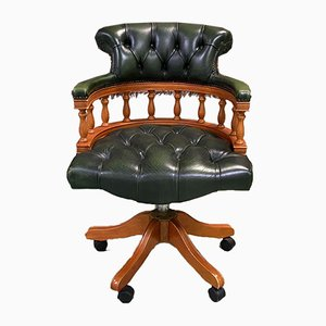 English Leather Chesterfield Desk Chair, 1980s