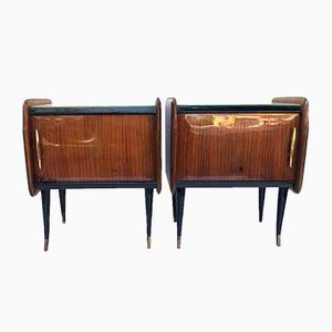 Italian Marbled Glass and Brass Nightstands, 1950s, Set of 2