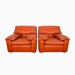 Leather Lounge Chairs, 1970s, Set of 2
