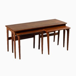 Mid-Century Scandinavian Danish Teak Rectangular Nesting Tables