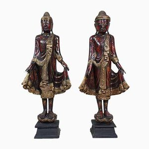 Antique Mandalay Buddha Sculptures, Set of 2