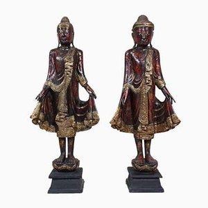 Sculptures de Bouddha Mandalay Antique, Set de 2