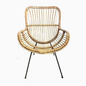 Italienische Sessel aus Korbgeflecht, 1950er, 2er Set