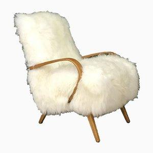 Vintage Art Deco White Sheepskin Armchair