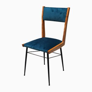 Italian Petrol Blue Velvet Chair with Wooden Frame and Metal Rod, 1960s