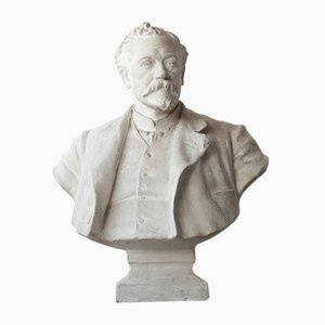 Buste de Gentleman Mid-Century en Plâtre
